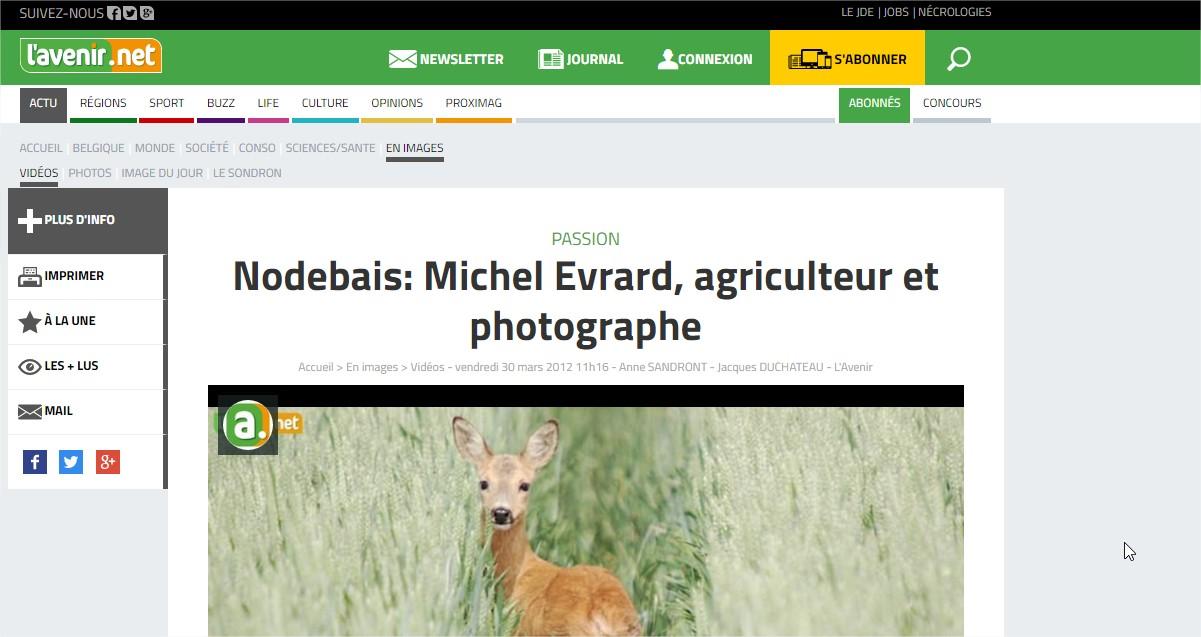 Reportage sur M. Evrard par LAVENIR.NET